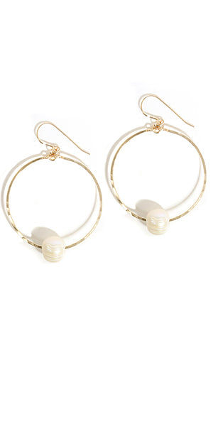 Pearl Hoop Earrings by Amy Joy