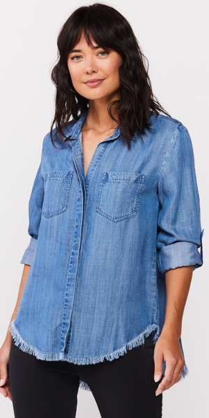 Riley Indigo Tone Tie Dye Button-Up Shirt