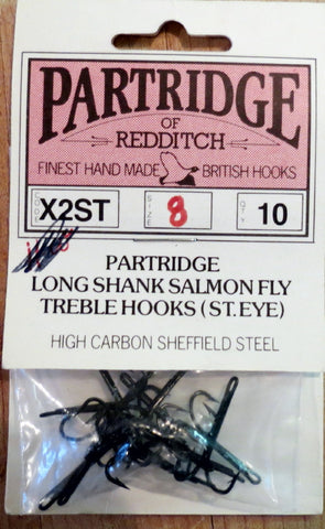 Partridge of Redditch long shank salmon fly treble hooks X2ST