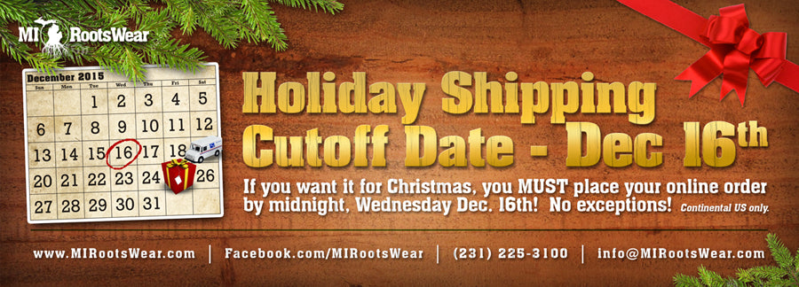 2015 Holiday Shipping Cutoff
