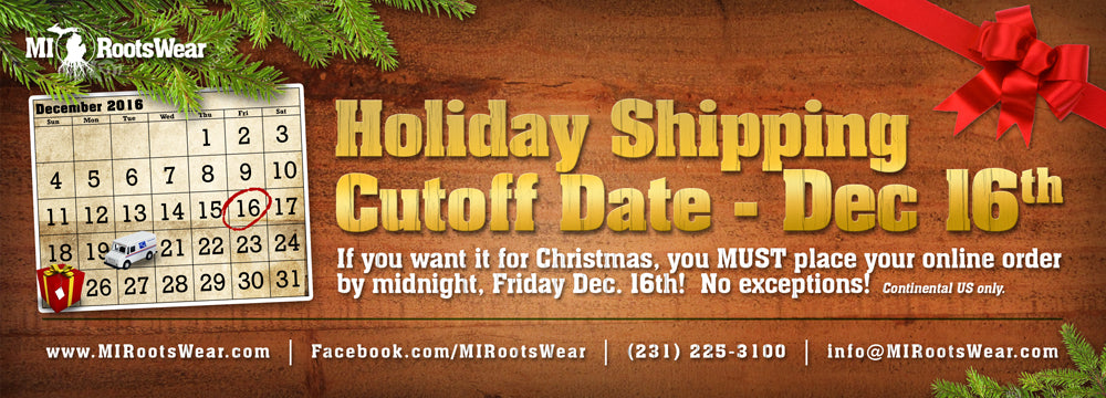Holiday Shipping Cutoff 2016