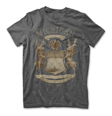 Michigan Crest T-Shirt - Heather Charcoal Grey