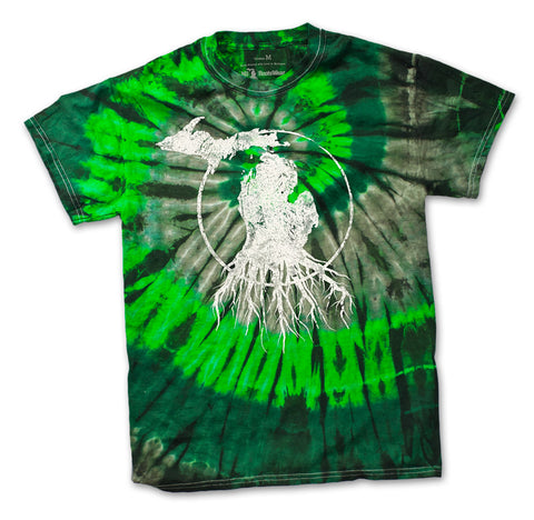 Unisex Michigan Roots Logo T-Shirt - Green Swirl Tie-Dye