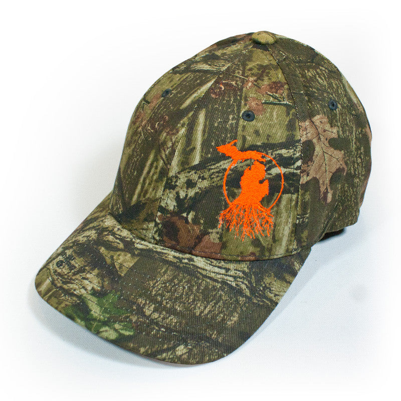 Michigan Roots Logo Flexfit™ Cap - Mossy Oak™ Camo with Blaze Orange