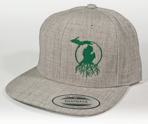 Michigan Roots Logo Flat Bill Snapback Cap - Heathered Twill with Dark Green