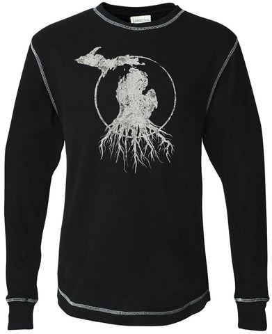Michigan Roots Logo Long Sleeve Thermal - Black
