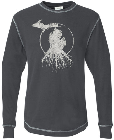 Michigan Roots Logo Long Sleeve Thermal - Charcoal Grey