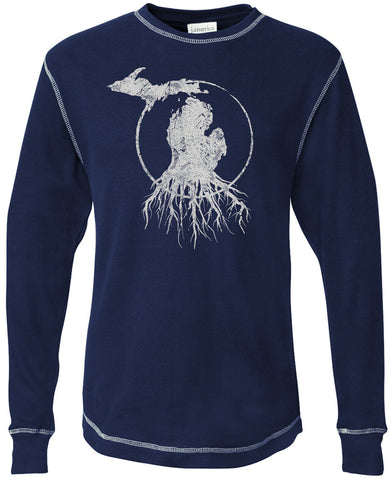 Michigan Roots Logo Long Sleeve Thermal - Navy Blue