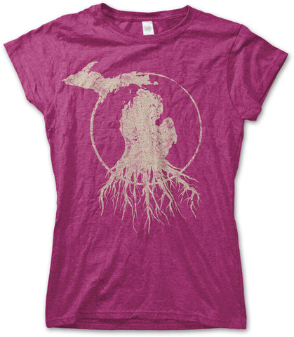 Ladies' Michigan Roots Logo T-Shirt - Antique Raspberry