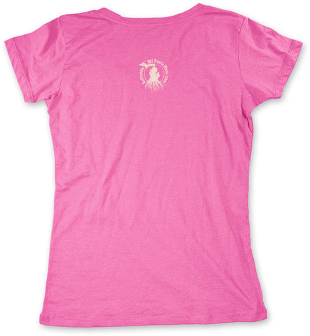 Ladies' Michigan Roots Logo V-Neck T-Shirt - Hot Pink