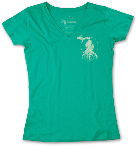 Ladies' Michigan Roots Logo V-Neck T-Shirt - Irish Green
