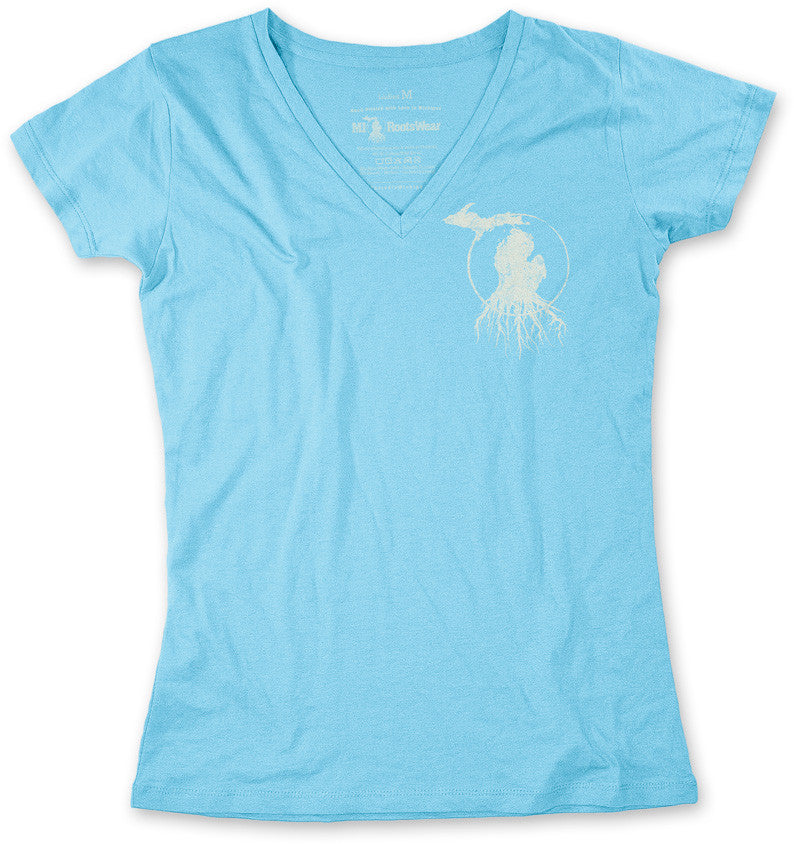 Ladies' Michigan Roots Logo V-Neck T-Shirt - Turquoise