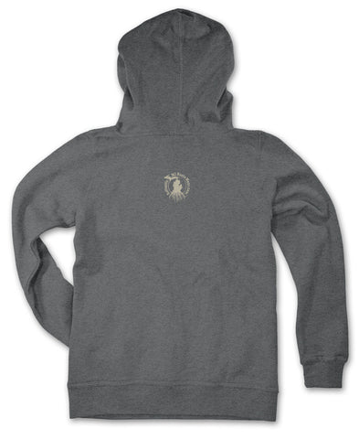 Ladies' Michigan Roots Logo Pullover Hoodie - Heather Charcoal