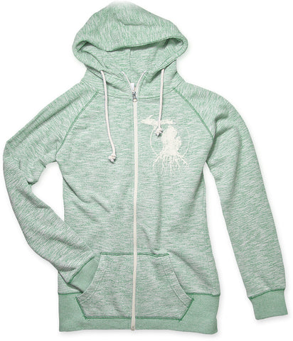 Ladies' Michigan Roots Logo Funnel Neck Zip-Up Hoodie - Heather Forest