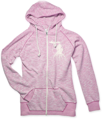 Ladies' Michigan Roots Logo Funnel Neck Zip-Up Hoodie - Pink