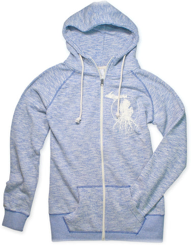 Ladies' Michigan Roots Logo Funnel Neck Zip-Up Hoodie - Royal Blue