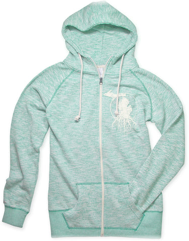 Ladies' Michigan Roots Logo Funnel Neck Zip-Up Hoodie - Seaglass