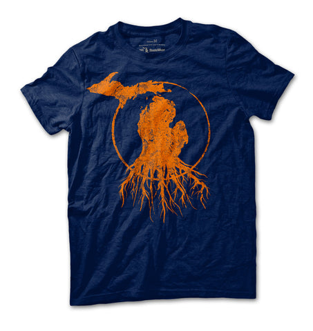 Unisex Michigan Roots Logo T-Shirt - Team Navy/Orange
