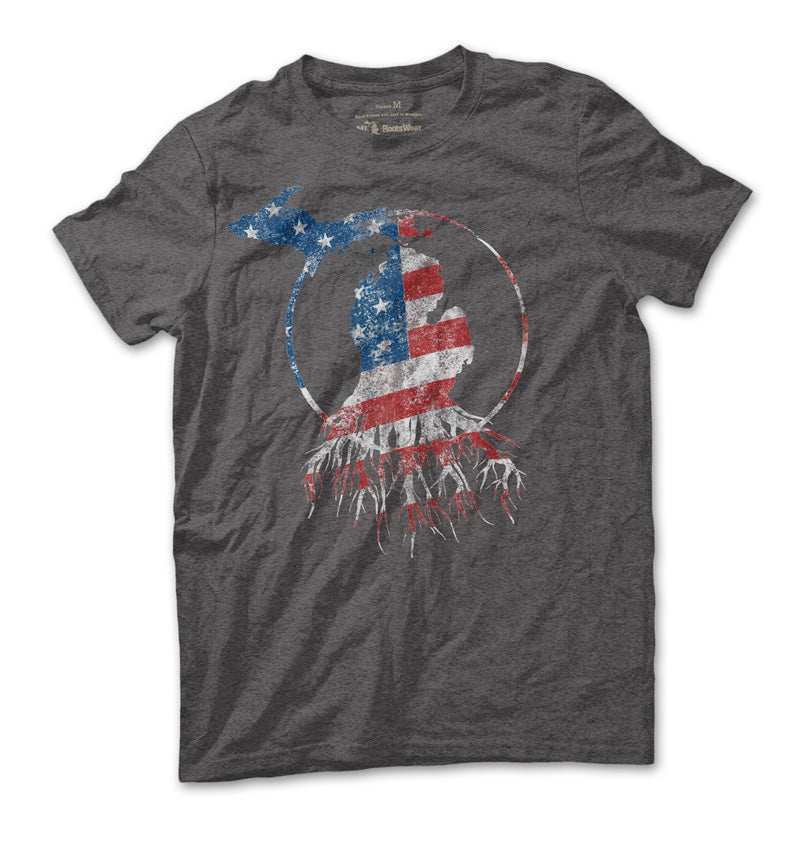 Red, White, and Blue Michigan Roots Logo Unisex T-Shirt - Heather Charcoal