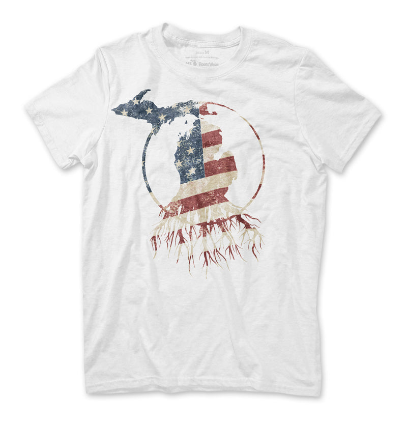 Red, White, and Blue Michigan Roots Logo Unisex T-Shirt - White