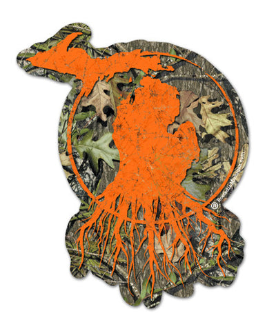 Michigan Roots Logo Vinyl Sticker - RealTree™ Camo and Blaze Orange
