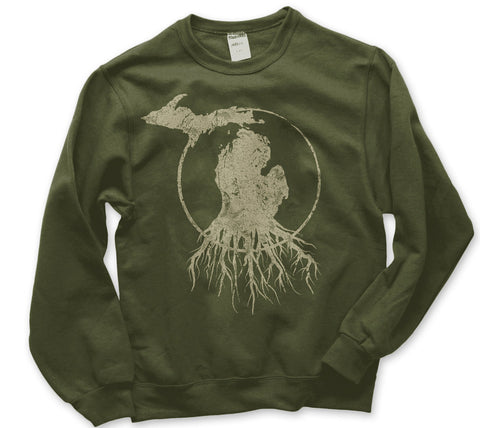 Crew Neck Michigan Roots Logo Sweatshirt - Military Green
