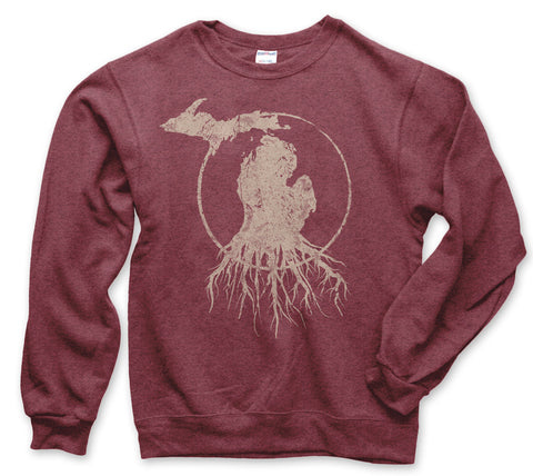 Crew Neck Michigan Roots Logo Sweatshirt - Vintage Red