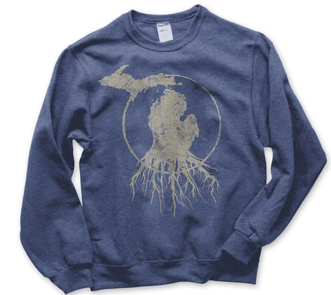Crew Neck Michigan Roots Logo Sweatshirt - Vintage Heather Royal Blue