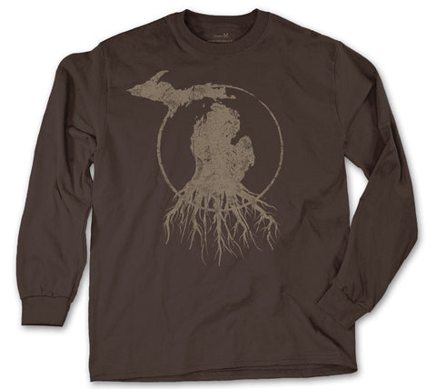 Long Sleeve Michigan Roots Logo Shirt - Brown