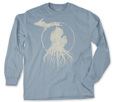 Long Sleeve Michigan Roots Logo Shirt - Flat Blue