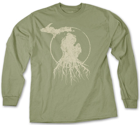Long Sleeve Michigan Roots Logo Shirt - Military Green