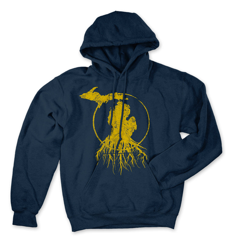 Michigan Roots Logo Pullover Hoodie - Collegiate Blue/Maize