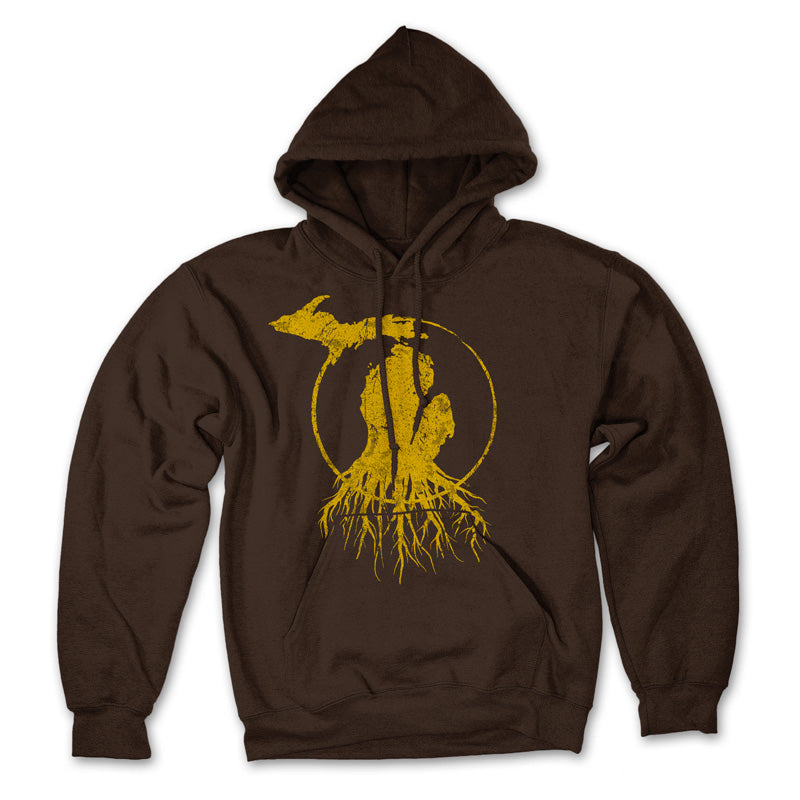 Michigan Roots Logo Pullover Hoodie - Collegiate Brown/Gold