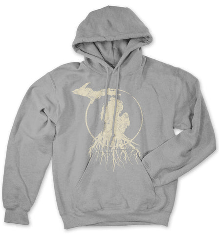 Michigan Roots Logo Pullover Hoodie - Flat Grey