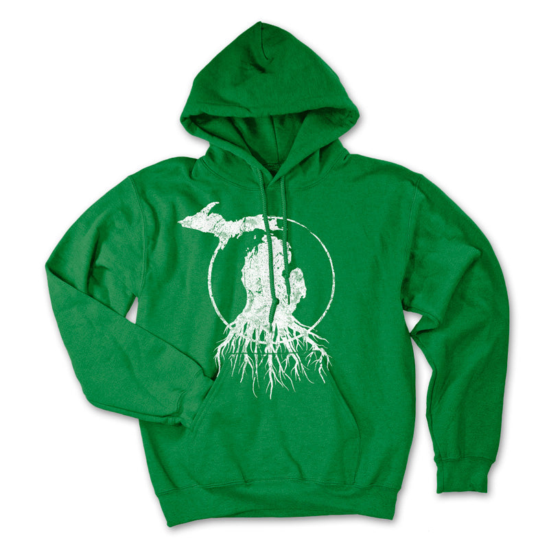 Michigan Roots Logo Pullover Hoodie - Collegiate Green/White