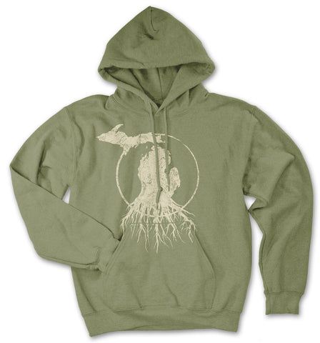 Michigan Roots Logo Pullover Hoodie - Military Green