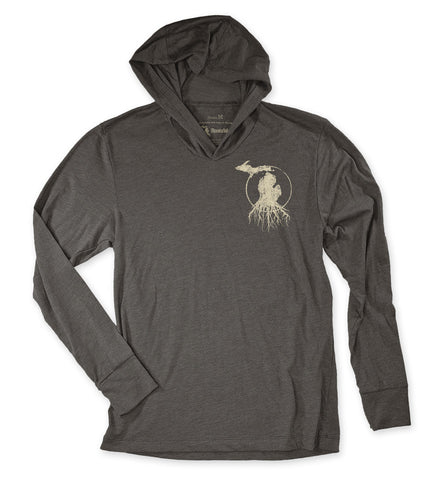Unisex Michigan Roots Logo T-Shirt Hoodie - Black Walnut