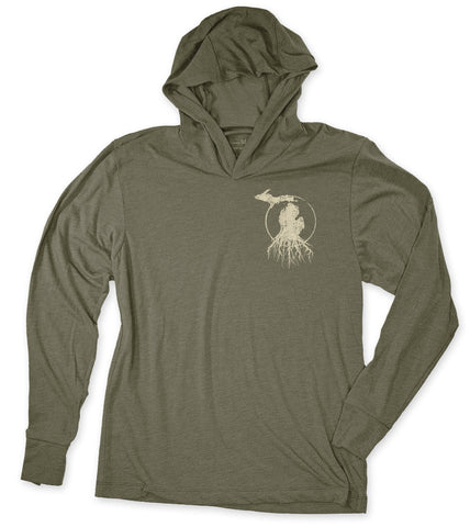 Unisex Michigan Roots Logo T-Shirt Hoodie - Vintage Military Green