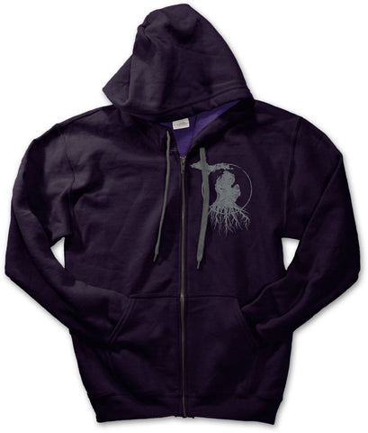 Michigan Roots Logo Zip-Up Hoodie - Blackberry Purple