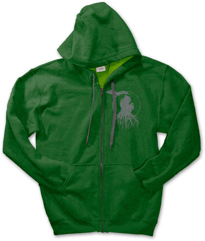 Michigan Roots Logo Zip-Up Hoodie - Meadow Green