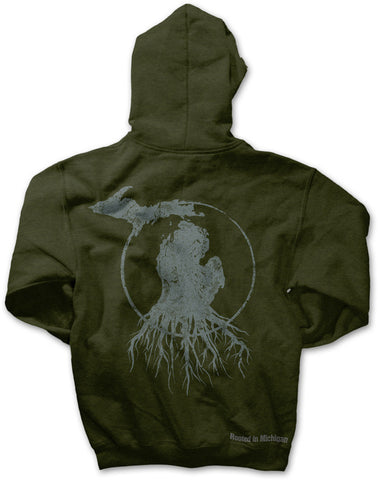 Michigan Roots Logo Zip-Up Hoodie - Military Green