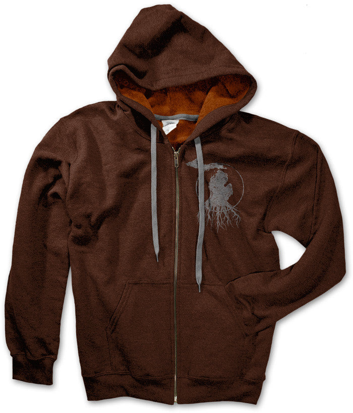 Michigan Roots Logo Zip-Up Hoodie - Russet Brown