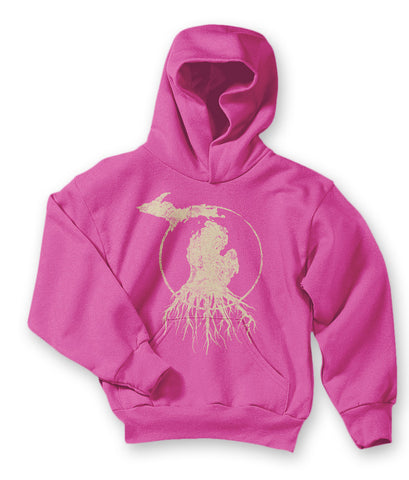 Youth Michigan Roots Logo Pullover Hoodie - Raspberry Pink