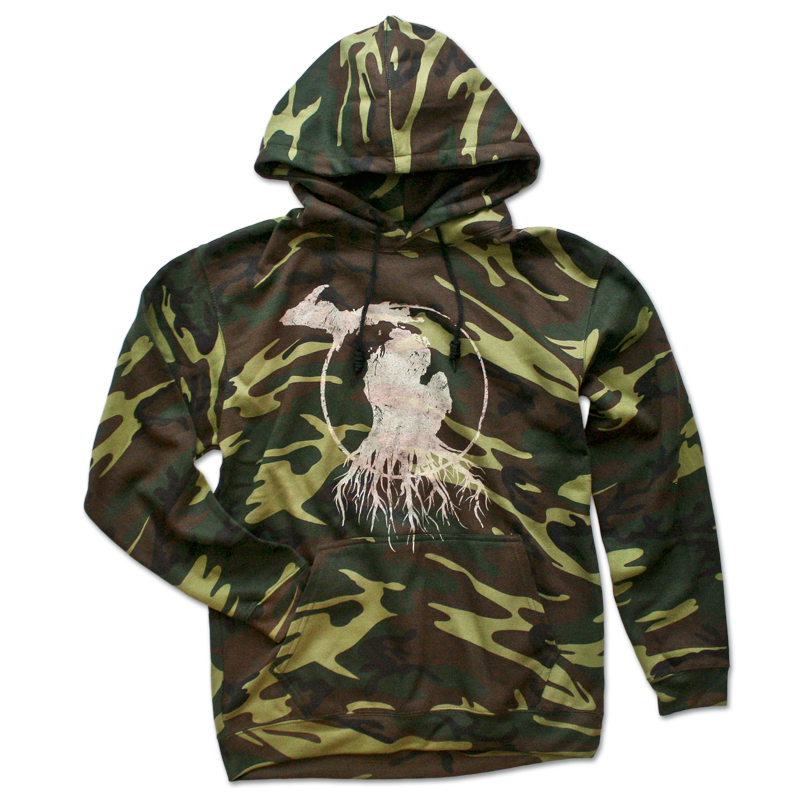 Michigan Roots Logo Pullover Hoodie - Traditional Camo