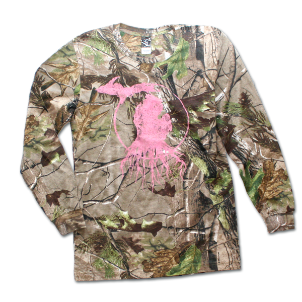 Long Sleeve Michigan Roots Logo Shirt - RealTree™ Camo with Pink Print