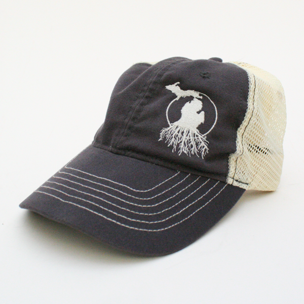Michigan Roots Logo Mesh Back Trucker Cap - Slate