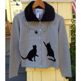 Retro Kitty Cardi with Detachable Fur Trim
