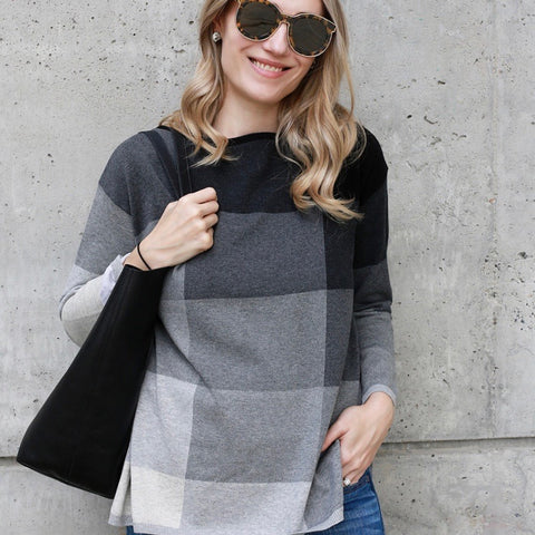 Our best selling Pixel pattern sweater is a soft cotton tunic in tonal shades of heather grey.  Details include a flattering boat neckline and side slit.  Roomy fit.  100% cotton Rib trims Fine gauge jacquard Machine wash cold, lay flat to dry.  Ladies tunic sweater plus size fashion