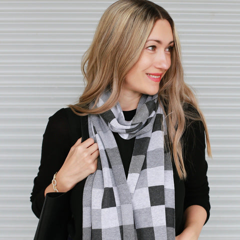 "Meet the scarf version of our best selling Pixels pullover.  Our 82"" patterned scarf is in the softest fine gauge cotton and is 12"" longer than our previous scarves.    12"" wide x 82""long.  Heather grey tones in a pixels pattern.  One colorway/ one size only"