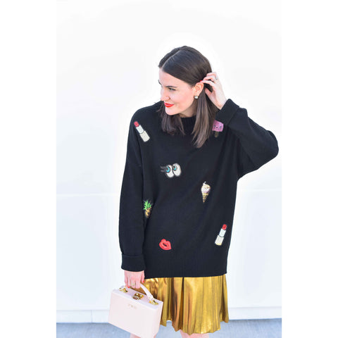Sequined Emoji Pullover Tunic